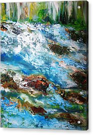 River Rapids With Falling Water Acrylic Print by Patricia Taylor