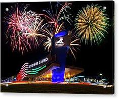 Riverwind Fireworks Acrylic Print by Ricky Barnard