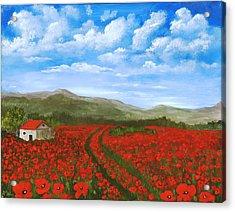 Road Through The Poppy Field Acrylic Print by Anastasiya Malakhova