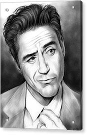 Robert Downey Jr Acrylic Print by Greg Joens