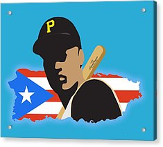 Roberto Clemente T-shirt Graphics Acrylic Print by Ron Regalado