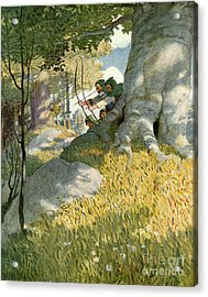 Robin Hood And His Companions Rescue Will Stutely Acrylic Print by Newell Convers Wyeth