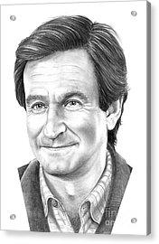 Robin Williams Acrylic Print by Murphy Elliott