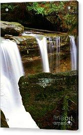 Rock And Waterfall Acrylic Print by Thomas R Fletcher