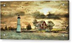 Rock Island Sunrise Acrylic Print by Lori Deiter