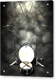 Rock N Roll Crest-the Drummer Acrylic Print by Frederico Borges
