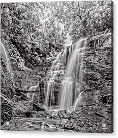 Rocky Falls - Bw Acrylic Print by Christopher Holmes