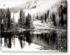 Rocky Mountain Lake - Black And White Acrylic Print by Steve Ohlsen