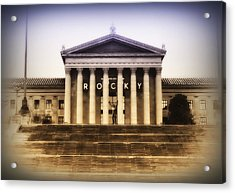 Rocky On The Art Museum Steps Acrylic Print by Bill Cannon