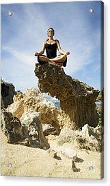 Rocky Yoga Acrylic Print by Kicka Witte - Printscapes
