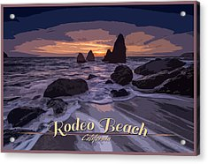 Rodeo Beach Vintage Tourism Poster Acrylic Print by Rick Berk