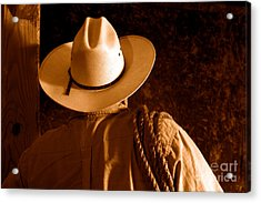 Rodeo Cowboy - Sepia Acrylic Print by Olivier Le Queinec