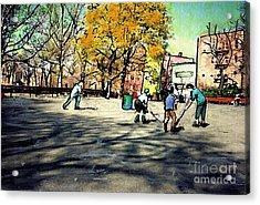 Roller Hockey In Bennett Park Acrylic Print by Sarah Loft