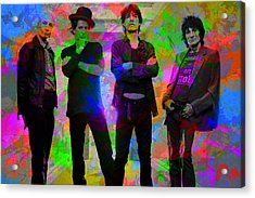 Rolling Stones Band Portrait Paint Splatters Pop Art Acrylic Print by Design Turnpike