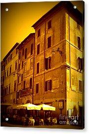 Roman Cafe With Golden Sepia 2 Acrylic Print by Carol Groenen