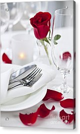 Romantic Dinner Setting With Rose Petals Acrylic Print by Elena Elisseeva