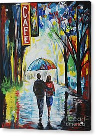 Romantic Night Out Acrylic Print by Leslie Allen