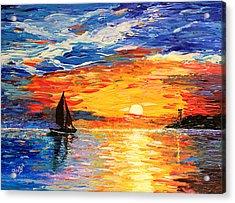 Romantic Sea Sunset Acrylic Print by Georgeta  Blanaru
