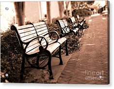 Romantic Surreal Park Bench Pink Sepia Tones Acrylic Print by Kathy Fornal