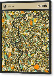 Rome City Map Acrylic Print by Jazzberry Blue