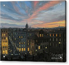 Rome In The Light Of Sunset Acrylic Print by Kiril Stanchev