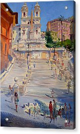 Rome Piazza Di Spagna Acrylic Print by Ylli Haruni