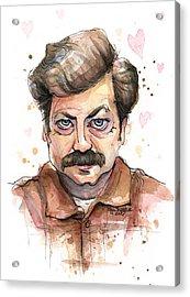 Ron Swanson Funny Love Portrait Acrylic Print by Olga Shvartsur
