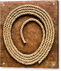 Rope On Leather Acrylic Print by Olivier Le Queinec