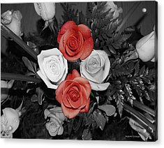 Rose Bouquet Acrylic Print by DigiArt Diaries by Vicky B Fuller
