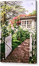 Rose Cottage Gate Acrylic Print by David Lloyd Glover