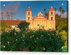 Rose Garden At Santa Barbara Mission Acrylic Print by Connie Cooper-Edwards