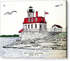Rose Island Lighthouse Acrylic Print by Frederic Kohli