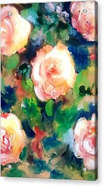 Roses And Blueberries Acrylic Print by Patricia Taylor
