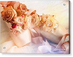 Roses And Dance Shoes Acrylic Print by Ann Garrett