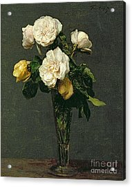 Roses In A Champagne Flute Acrylic Print by Ignace Henri Jean Fantin-Latour