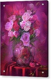 Roses In Rose Vase Acrylic Print by Carol Cavalaris