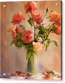 Roses La Belle Acrylic Print by Linde Townsend
