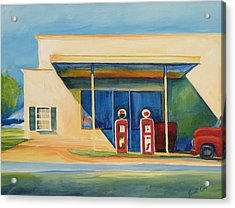 Round Rock Gas Station Acrylic Print by Janet Oh