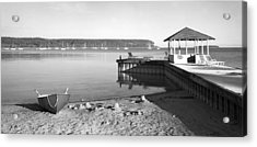 Row Boat And Dock At Ephriam Acrylic Print by Stephen Mack