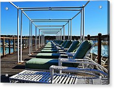 Row Of Beach Chairs Acrylic Print by Alex Schindel