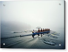 Rowing Team On Lake In Early Morning Fog Acrylic Print by Nick Wilson