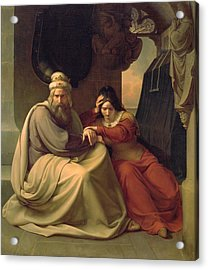 Royal Couple Mourning For Their Dead Daughter Acrylic Print by Carl Friedrich Lessing