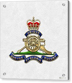Royal Regiment Of Canadian Artillery - Rca Badge On White Leather Acrylic Print by Serge Averbukh