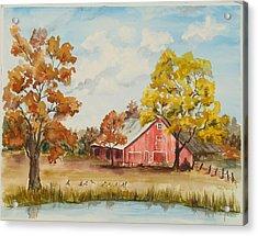 Rt 66 Barn In Bristow Oklahoma Acrylic Print by Judy Loper
