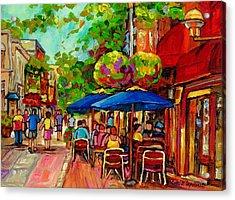 Rue Prince Arthur Montreal Acrylic Print by Carole Spandau