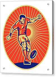 Rugby Player Kicking Ball Woodcut Acrylic Print by Aloysius Patrimonio