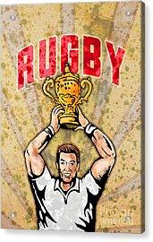 Rugby Player Raising Championship World Cup Trophy Acrylic Print by Aloysius Patrimonio
