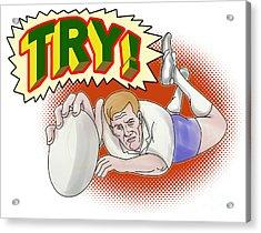 Rugby Player Scoring A Try Acrylic Print by Aloysius Patrimonio
