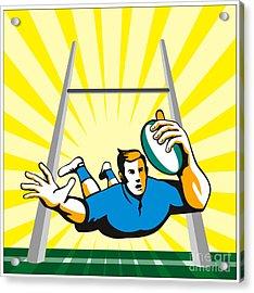 Rugby Player Try Acrylic Print by Aloysius Patrimonio