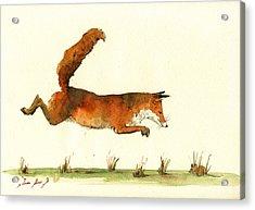 Running Fox Acrylic Print by Juan  Bosco